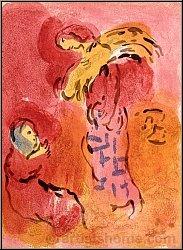 Marc Chagall: Ruth glaneuse avec sa belle-mère Noémie, 1960, Lithographie originale, Dessins pour la Bible