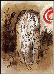 Marc Chagall: Noémie et ses Belles-Filles, Lithographie originale 1960, Dessins pour la Bible   oeuvre gravé