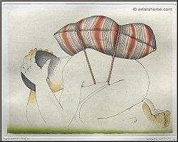 Michel Lablais: Gravure à l'eau-forte signée « Atlante » 1991, Asie Chine et Japon, Méditation - ½uvre gravé