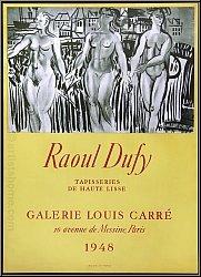 Raoul Dufy: Affiche d'exposition Galerie Louis Carré 1948, Tapisseries, Lithographie Mourlot - Affiches origin