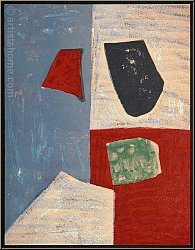 Serge Poliakoff: Composition rose, rouge et bleue, 1958, Lithographie