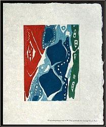 Ernst Wilhelm Nay: Gravure originale, aquatinte en couleurs « 1965-7 » (Gabler 81), voeux de bonne année