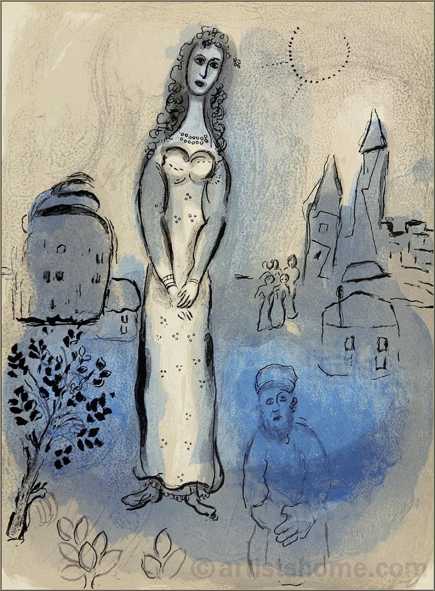 marc chagall esther lithographie originale verve bible mourlot 1960 acheter des estampes. Black Bedroom Furniture Sets. Home Design Ideas