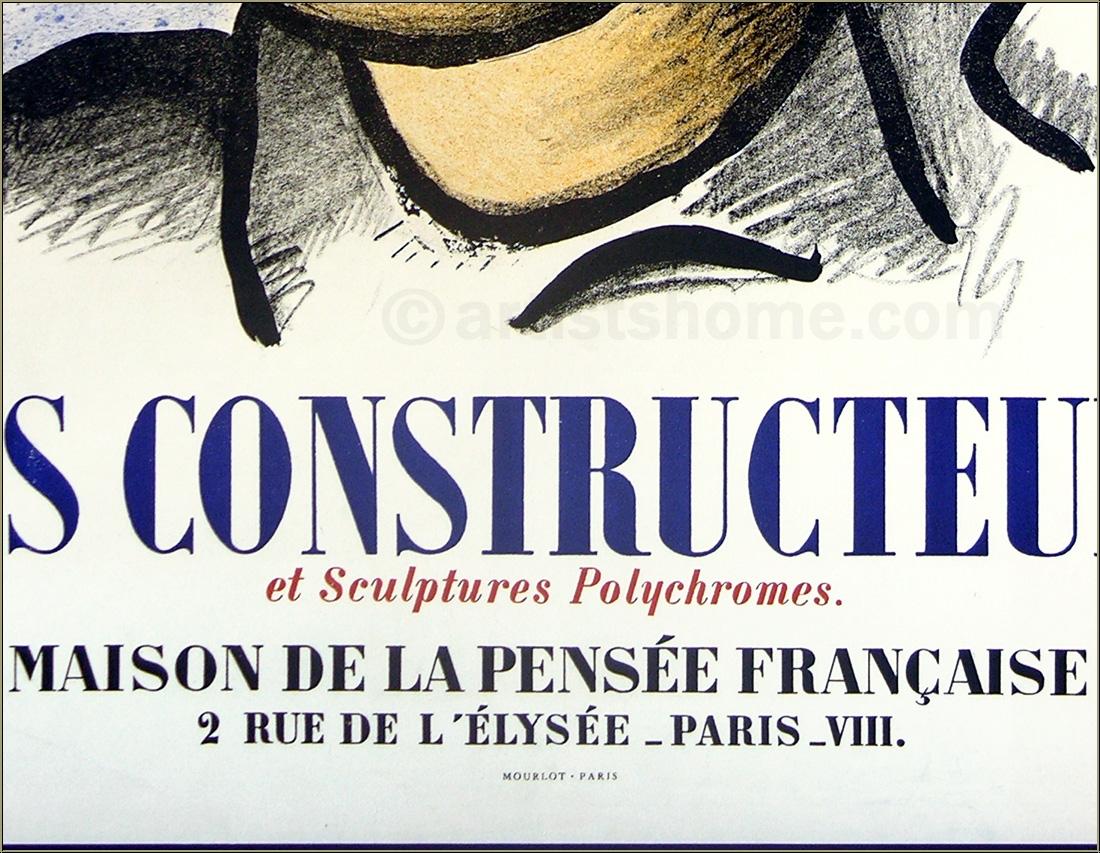 fernand l ger affiche les constructeurs 1951 maison de la pens e acheter des estampes. Black Bedroom Furniture Sets. Home Design Ideas