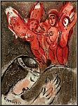 Marc Chagall: Sara et les Anges, Lithographie originale La Bible, 1960