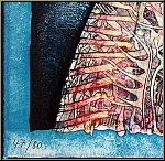 Bernhard Jaeger: « Montrer les dents » 1971, Lithographie signée, chien grognant | ½uvre gravé - estampes