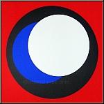 Geneviève Claisse: Sérigraphie signée «Cercles» sur fond rouge, Op Art