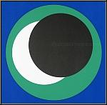 Geneviève Claisse: «Cercles» sur fond bleu, Sérigraphie originale 1967