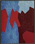 Serge Poliakoff: Composition rouge et bleue, 1968, Lithographie orig.