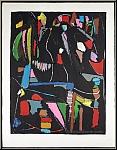 André Lanskoy: Composition abstraite sur noir, lithographie signée