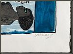 Guillaume Corneille: Femme et oiseau (L'heure bleue) Lithographie épreuve signée, datée, 2004 - ½uvre gravé